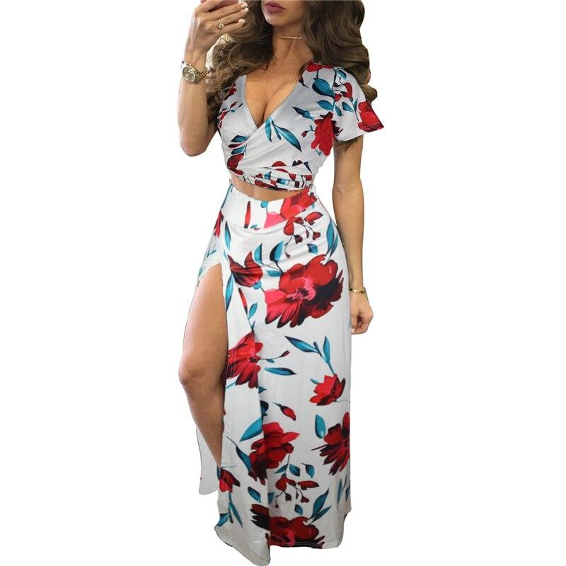 Vintage Floral Printed Women Boho Dress 2 Piece Set Summer Beach Dress V Neck Short Sleeve Split Midi Dress Sundress