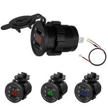 Автомобильное и мотоциклетное зарядное светодиодный с двумя USB-портами, 12-24 В