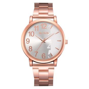 Fashion Women Watch Half Scale And Number Quartz Watch For Women Simple Business Rose Gold Strap Reloj Mujer Relogio Feminino
