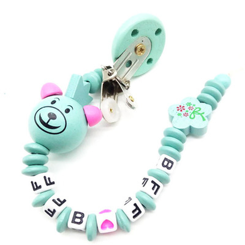 Baby Pacifier Clip Chain Cartoon Bear Letters Toy Teether For Kids Supplies LT