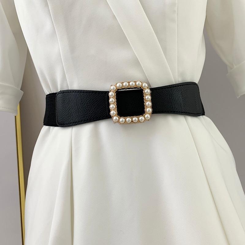 Branded Belts Pearls Fashion Women Elastic Waist Belt Newest Gold Buckle Cummerbunds Thin PU Leather Waistband Dress Decoration