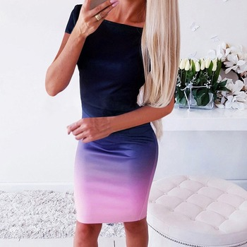 Gradient Color Dress for Summer Lady's Above Knee Sexy Dress 4