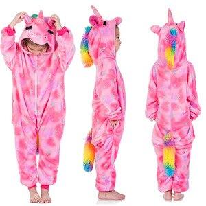 Image 2 - Pijamas de punto para niños, ropa de dormir de punto de Cosplay para niños, pijama de unicornio para niñas de 4 a 12 años