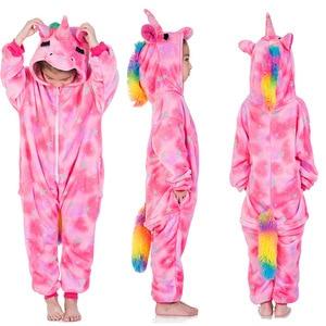 Image 2 - Winter Boys Stitch Pajamas Kids Cosplay Stitch Pyjamas Sleepwear Oneise Girls Unicorn Pajama Kigurumi Pijamas for 4 12Yrs