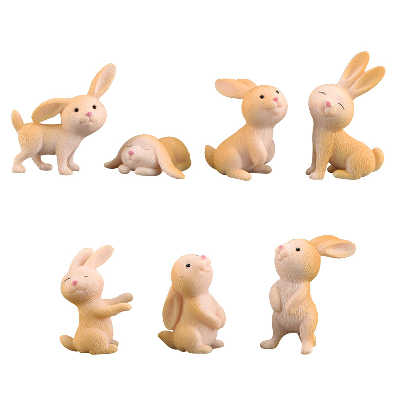 7 Pcs Cute Anime Rabbit Garden Ornament Cute Miniature Figurine Fairy Synthetic Resin Hand-painted Animal Fairy Garden Decor