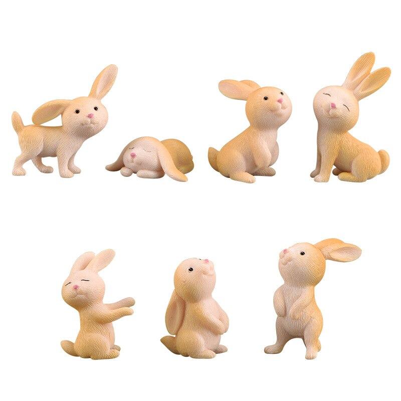 7 Pcs Cute Anime Rabbit Garden Ornament Cute Miniature Figurine Fairy Synthetic Resin Hand-painted Animal Fairy Garden Decor