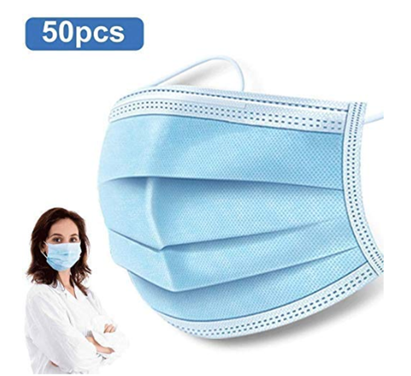 50pcs Fast Delivery Hot Sale 3-layer Mask Face Mouth Masks Non Woven Disposable Anti-Dust Meltblown Cloth Masks Earloops Masks