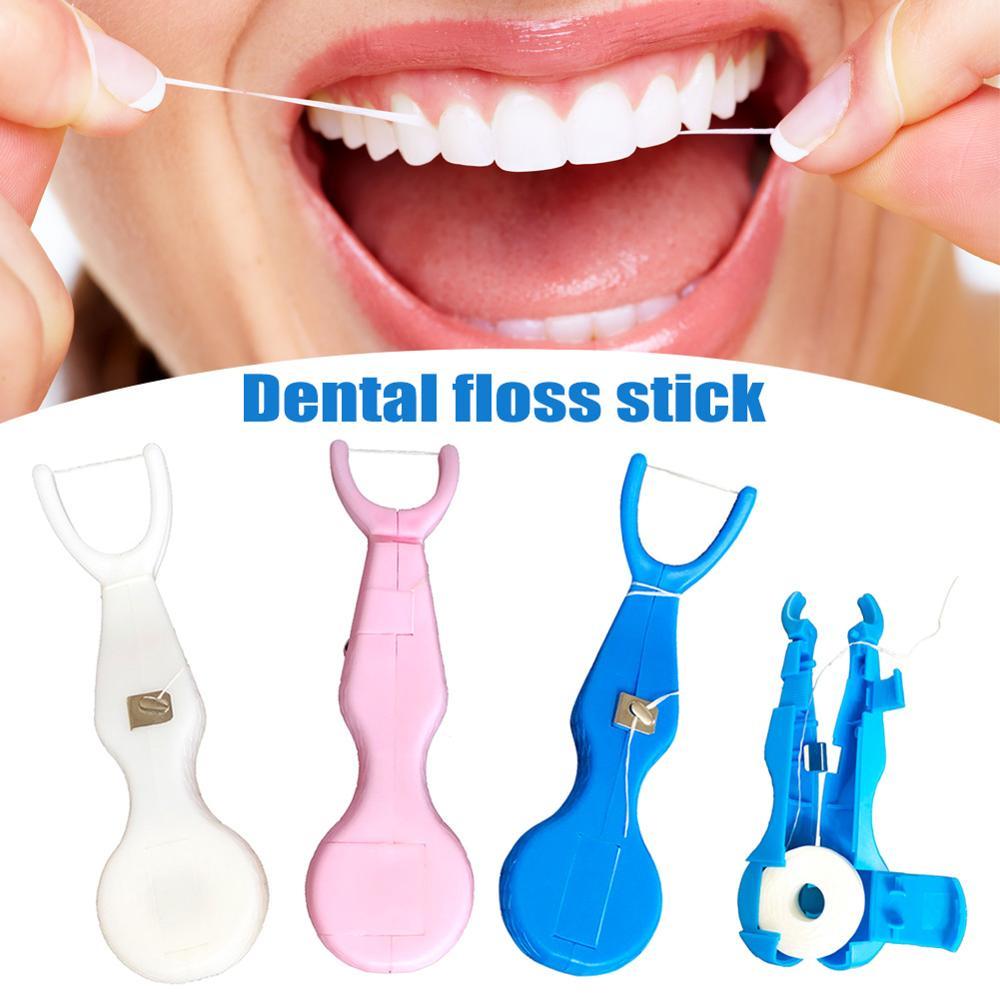 30 м нейлоновая зубная нить с держателем для чистки зубов инструмент для ухода за полостью рта очиститель OA66