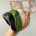 Женская повязка на голову ободок из искусственной кожи с головными повязками однотонные Цвет Ретро повязки с узлом и сердечком и повязка на...