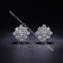 Round dia-mond CZ Halo Stud Earrings white Gold Plated Hypoallergenic Halo CZ Dia-mond Earrings Round Halo Stud Earrings