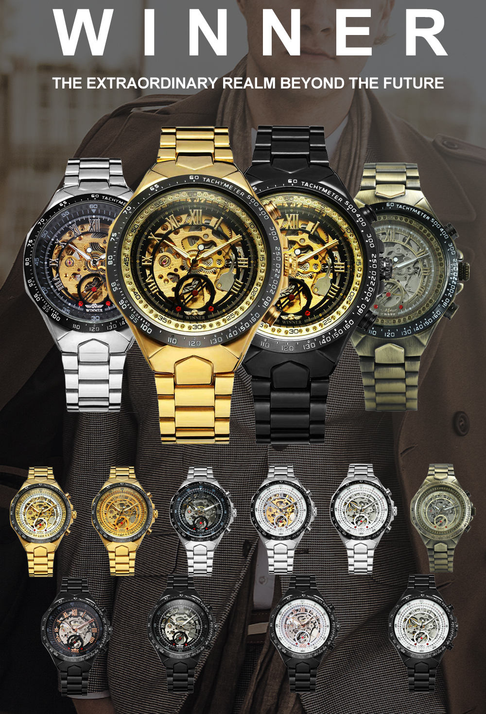 Image 2 - WINNER Official Vintage Fashion Men Mechanical Watches Metal Strap Top Brand Luxury Best Selling Vintage Retro Wristwatches +BOXMechanical Watches   -