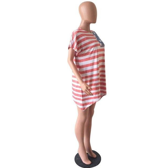 Women Sexy Casual Short Sleeve O-Neck National Flag Print Mini Dress Summer Loose Plus Size Asymmetrical Above Knee Dresses 4