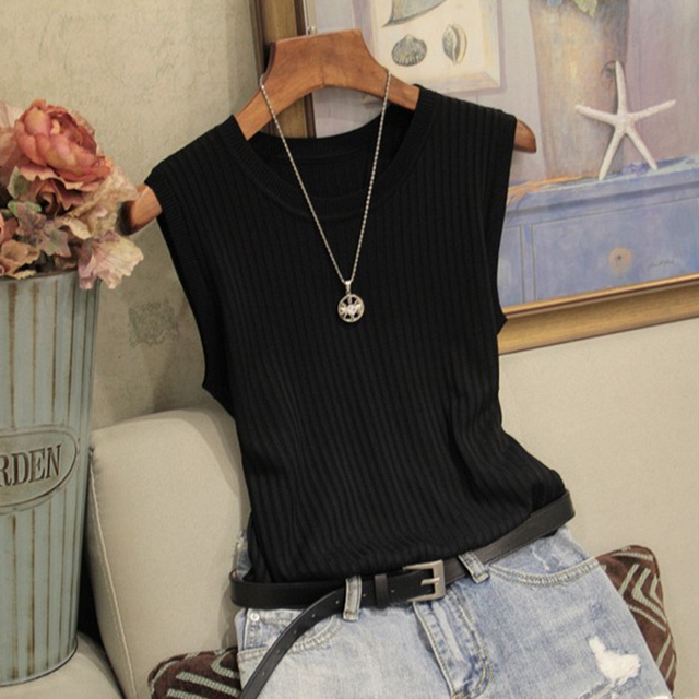 Fashion Woman Blouse 2021 Summer Sleeveless Blouse Women O-neck Knitted Blouse Shirt Women Clothes Womens Tops And Blouses C853 4