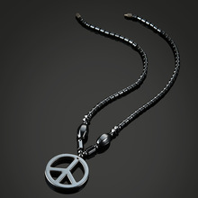 NJ 2019 New Health Energy Healing Therapy Magnetic Hematite Peace Symbol Beaded Necklace for Men and Women Spiritual Jewelry