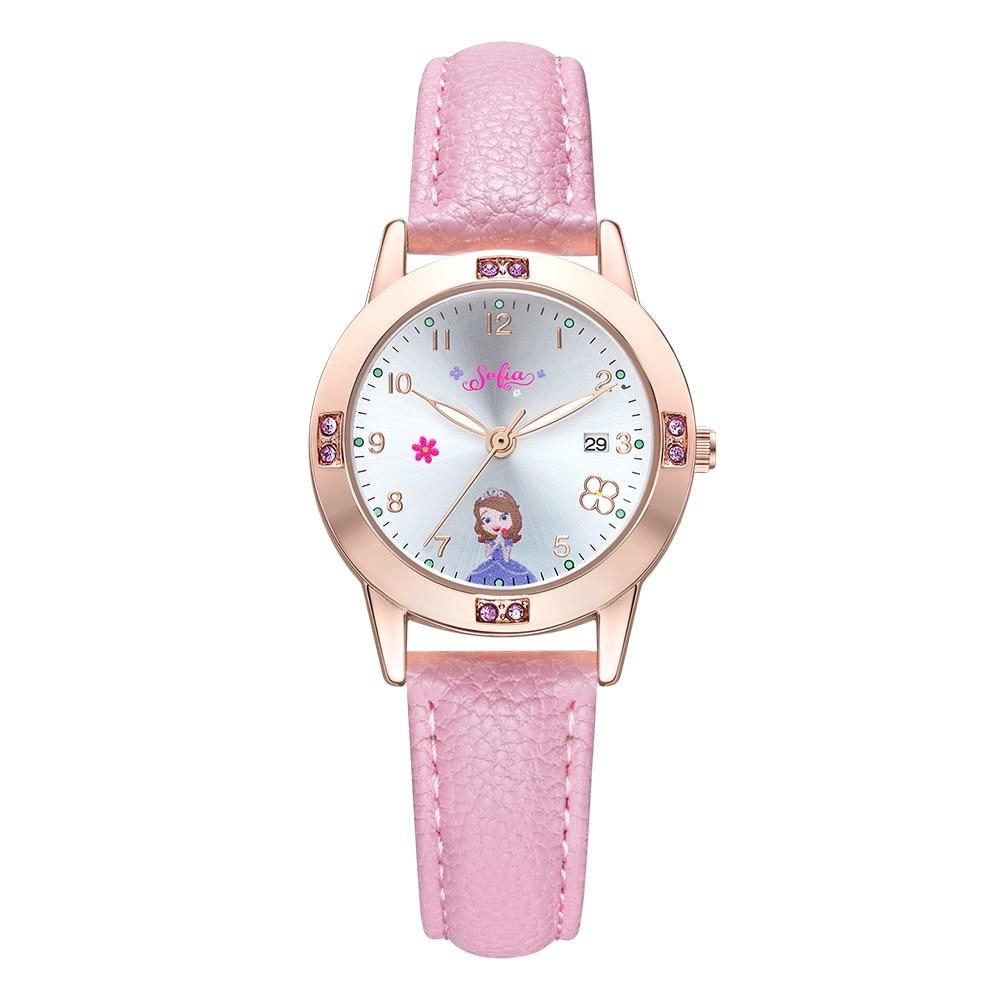 Disney Brand Girls Wristwatches Leather Waterproof Calendar Cartoon Sofia Princess Student Watches Girl Clocks