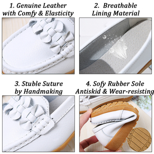 Image 4 - 2020ผู้หญิงLoafersหนังแท้รองเท้าแบนรองเท้าบัลเล่ต์Slipบนหญิงรองเท้าแตะสบายๆรองเท้าPeas Extraกว้างรองเท้า