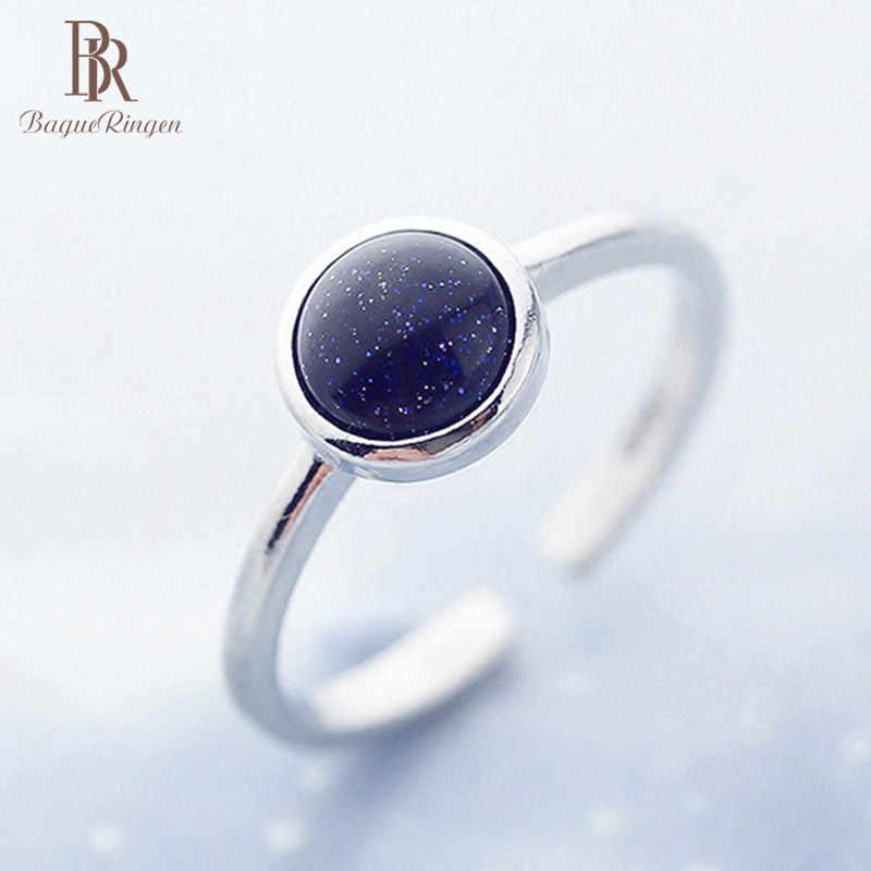 Bague Ringen แหวนเงิน 925 สำหรับผู้หญิงสร้างรอบ Obsidian อัญมณีเปิดแหวนปรับใหม่ขายร้อนวันเกิดของขวัญ