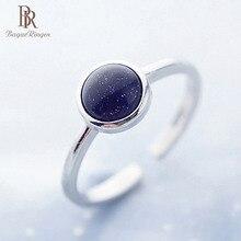 Bague Ringen anillos de plata 925 para mujer con gema obsidiana redonda creada anillo ajustable abierto nuevo regalo de cumpleaños de Venta caliente