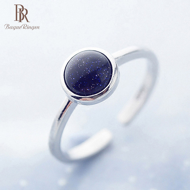 Bague Ringen silver 925 Rings For Women With Created round Obsidian gemstone Open Adjustable Ring New Hot selling Birthday Gift