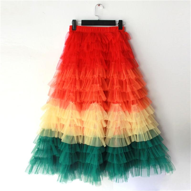 High Waist Multilayer ruffles Mesh Tutu Skirt 1