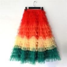 jupe femme ete 2021 Spring Party Skirt Elastic High Waist Long Tulle Skirt Women Multilayer ruffles Pink Mesh Tutu Skirt Ladies