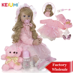 Keiumi corpo enchido bebê reborn boneca 60 cm moda longo ouro cachos princesa renascer boneca silicone vinil pano corpo boneca brinquedos