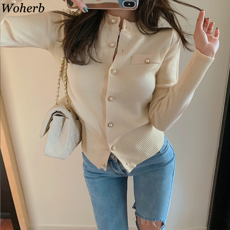 Woherb Korean Style Sweater Women Solid Color Single Breasted Cardigan Coats Vintage Fashion New Knitwear Sueter Mujer 90740