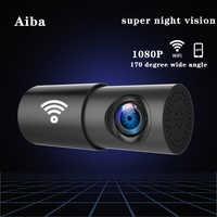 Originale Aiba A10 Car DVR APP 1080P HD Visione notturna Dash Cam Wifi Telecamera per auto Registratore 170 gradi grandangolo G-Sensor dash cam
