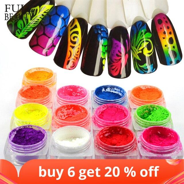 1 Box Neon Pigment Powder Nail Fluorescence Gradient Glitter Winter Shinny Dust Ombre DIY Nail Art Decor Manicure CHYE01 13 1