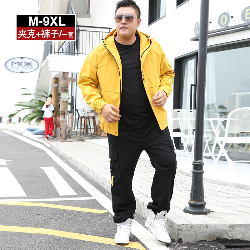 Jacket Suits Large Size Popular Brand Men'S Wear A Set Of Collocation Handsome Bib Overall Fashion Clothes Spring And Autumn Plu