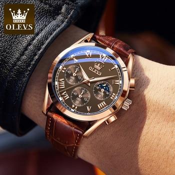 OLEVS Elite Mens Quartz Watches Business Dress Waterproof Wristwatch Men Luxury Breathable Leather Sports watch men Gifts 1