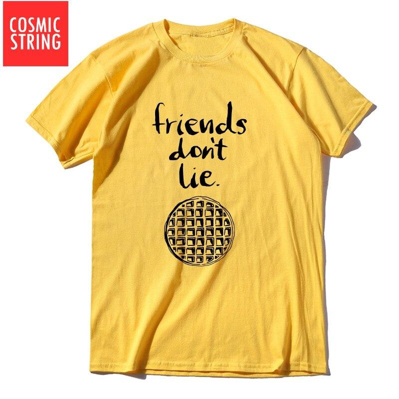 COSMIC STRING 100% Cotton Short Sleeve Stranger Things Men T Shirt Casual Summer Friends Do Not Lie T-shirt O-neck Men Tee Shirt