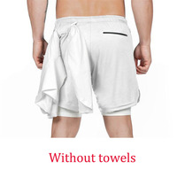 White buckle-Summer Running Shorts Men 2 in 1 Sports Jogging Fitness Quick Dry
