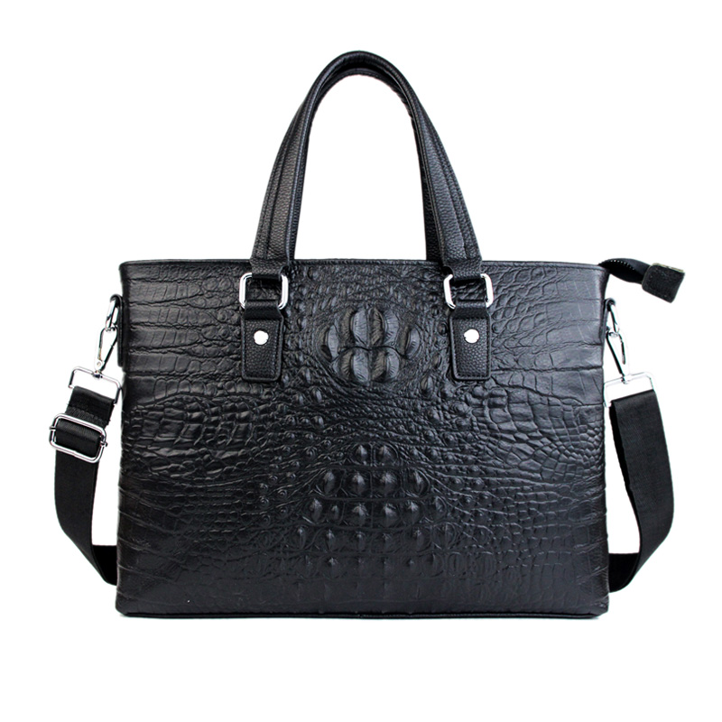 Genuine Cowhide Leather Men's Briefcase Business Handbag Luxury Designer Alligator Pattern Shouler Bag Male Shoulder Purse Bolsa