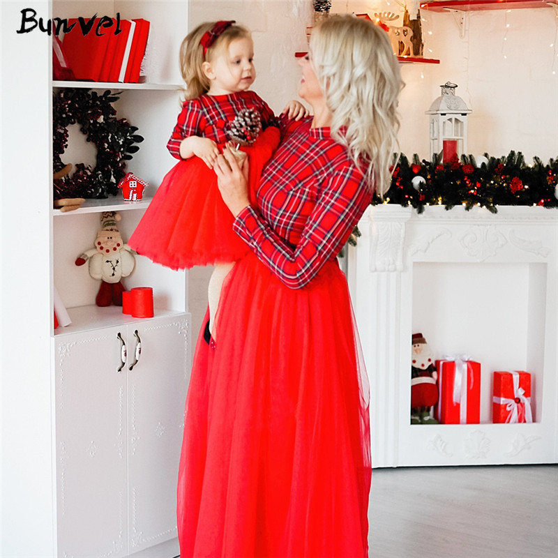 Bunvel Christmas Mommy And Me Clothes Plaid Princess Tutu Dress Baby Girl Dress Long Sleeve Mother Daughter Dresses Vestidos F
