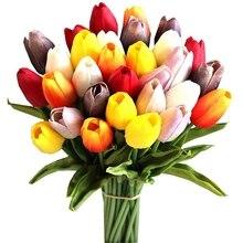 30 шт Разноцветные 14 дюймов шелковые искусственные тюльпаны цветы для вечерние украшения дома