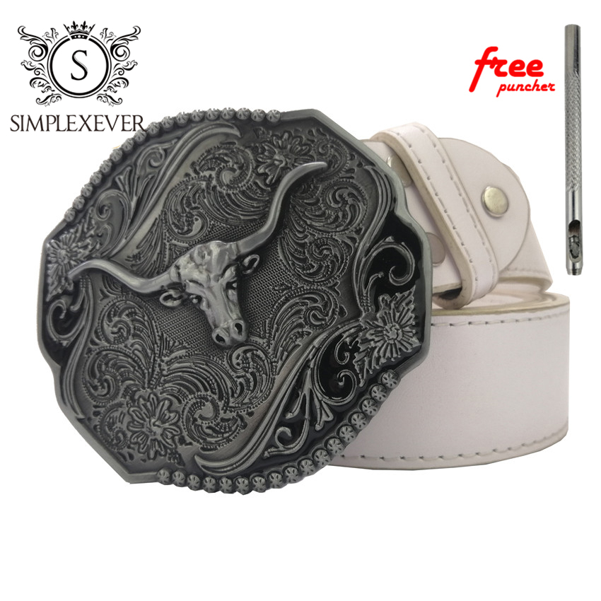 Floral Flower Ancient Silver Bull Belt Buckle Suitable For 4cm Width Snap On Belt With Continous Stock
