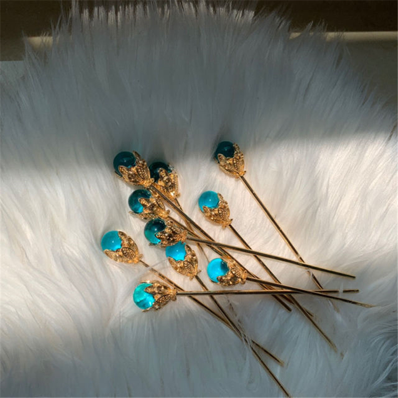 1Pcs Blue Hair Claw Direct Pearl Plate Hairpin Red White Bridal Headdress Hair Sticks Jewelry Ornaments Chinese Ancient Style 4