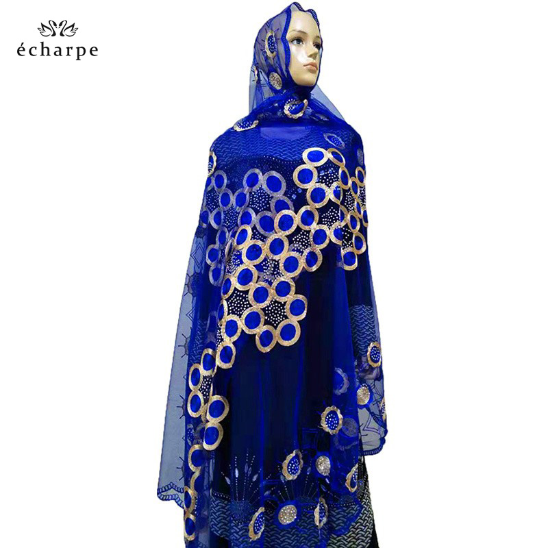 2019 New African Women Scarfs Muslim Embroidered Net Scarf Transparent Scarf Circle Deisgn Scarf For Shawls Pashmina BM802