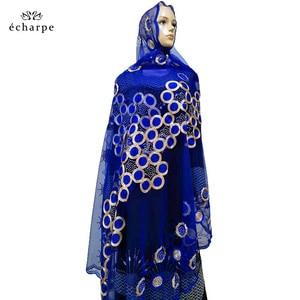 Image 1 - 2020 nowa afrykańska kobiety szaliki muzułmańskie haftowane netto szalik przezroczysty szalik koło Deisgn szalik na szale Pashmina BM802