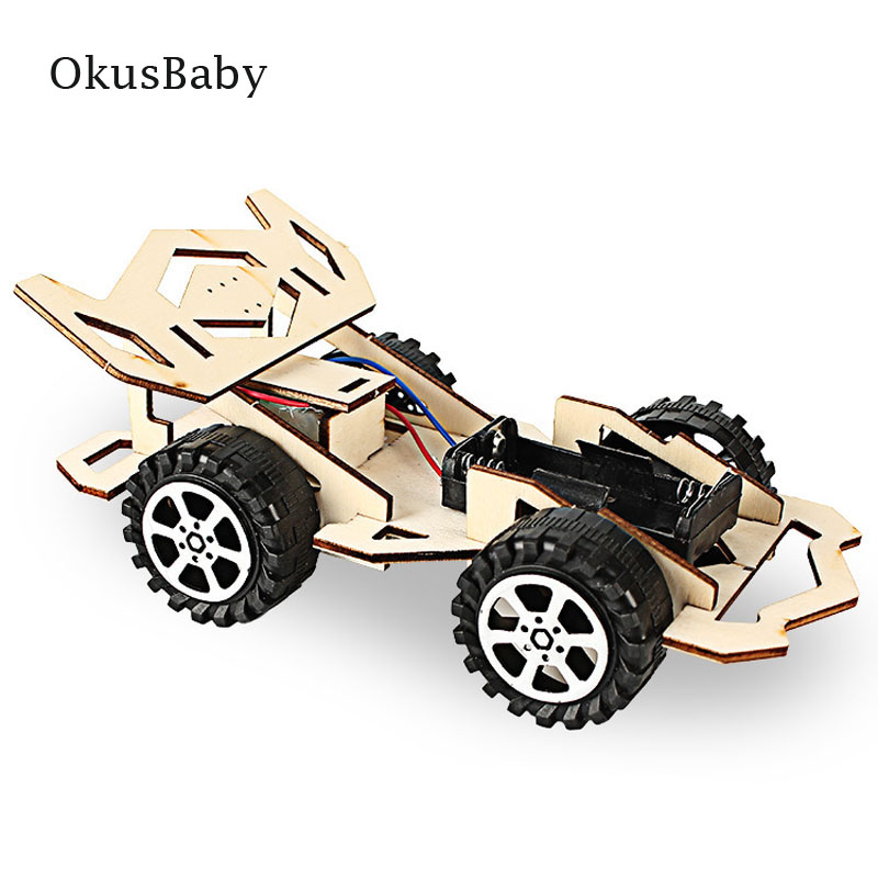 Assemble DIY Craft Toys Children Educational Wood Sport Car Model Toys Electric Vehicle Student Learning Hand Made DIY Painting