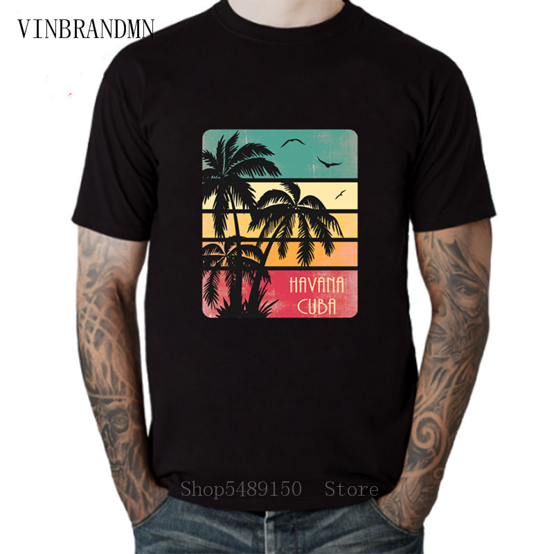 Retro Hipster Havana Tshirt Vintage Sunset Kuba Cuba Party DJ Club T Shirt Che Guevara Men's T-Shirts 100% Cotton Beach Clothing image
