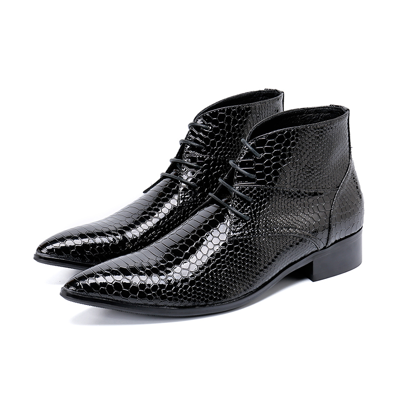 Genuine Leather Pointed-toe Zip Black Fish Scale Ankle Boots Low Heel Formal Boots Fashion Party Stage Dress Shoes