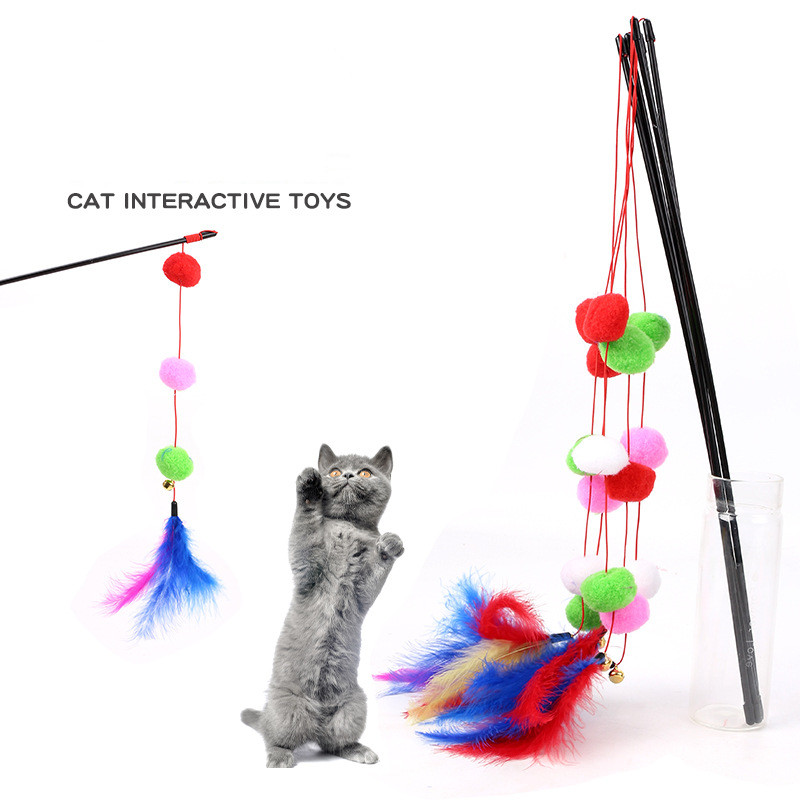 59CM Cat Toy Three Balls Tandem Color Feathers Funny Cats Hair Ball Funny Cats Supplies Random Color Hot Sale