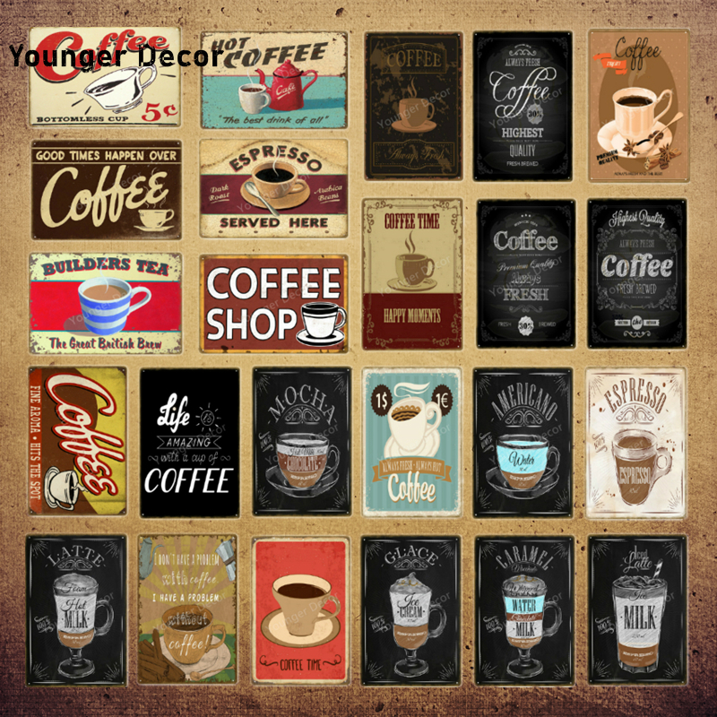 coffee shop decor espresso milk glace mocha metal tin signs vintage poster for bar cafe home wall art painting plaque yi 211