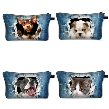 Funny Cat Dog Head Cosmetic Bag for Make Up Women Makeup Kitten Puppy Case Girls Casual Organizer Travel Bags - discount item  15% OFF Special Purpose Bags
