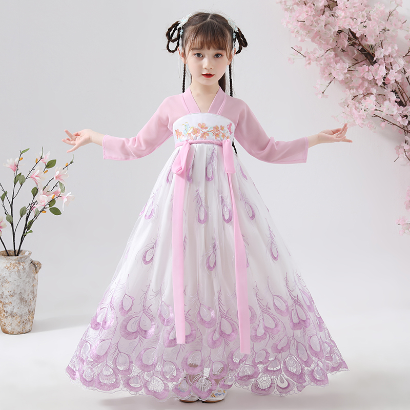Chinese Dress Qipao Embroidery Han Fu Princess Birthday Party Dance Perform Dress Traditional Wedding Evening Dress Cute Girls
