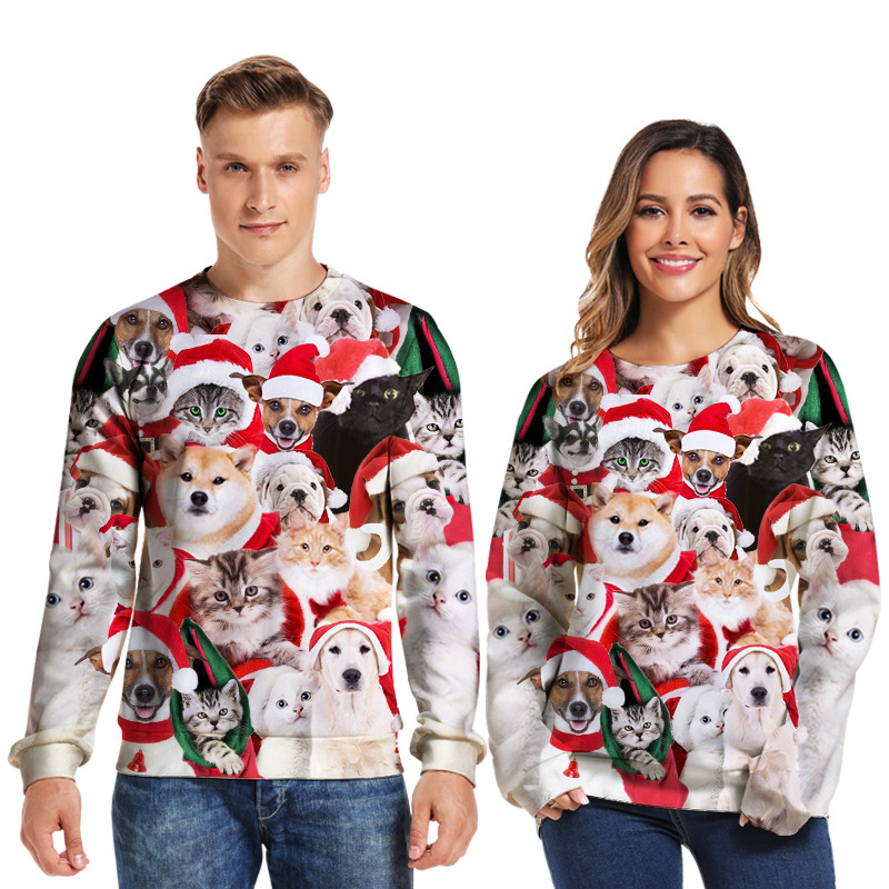 Unisex Holiday Party Ugly Christmas Sweaters Jumpers Tops 2019 Crewneck Long Sleeve Funny Dog Print 3D Round Neck Sweatshirt