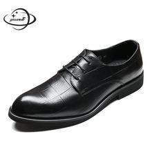 Мужские модельные туфли; сезон весна-осень; мужские кожаные туфли на шнуровке с острым носком; мужские туфли-броги в деловом стиле с мягкой подошвой; h103