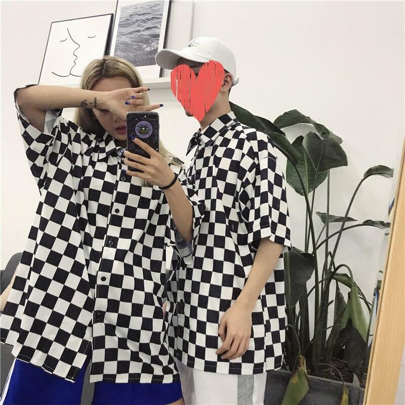 Koszule w stylu harajuku kobiety w stylu Vintage szachownica